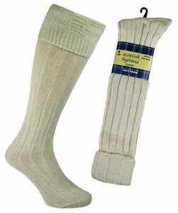 1 Mens Scottish Highland 65/% Wool Rich Long Hose Kilt Socks UK 6-11 Khaki