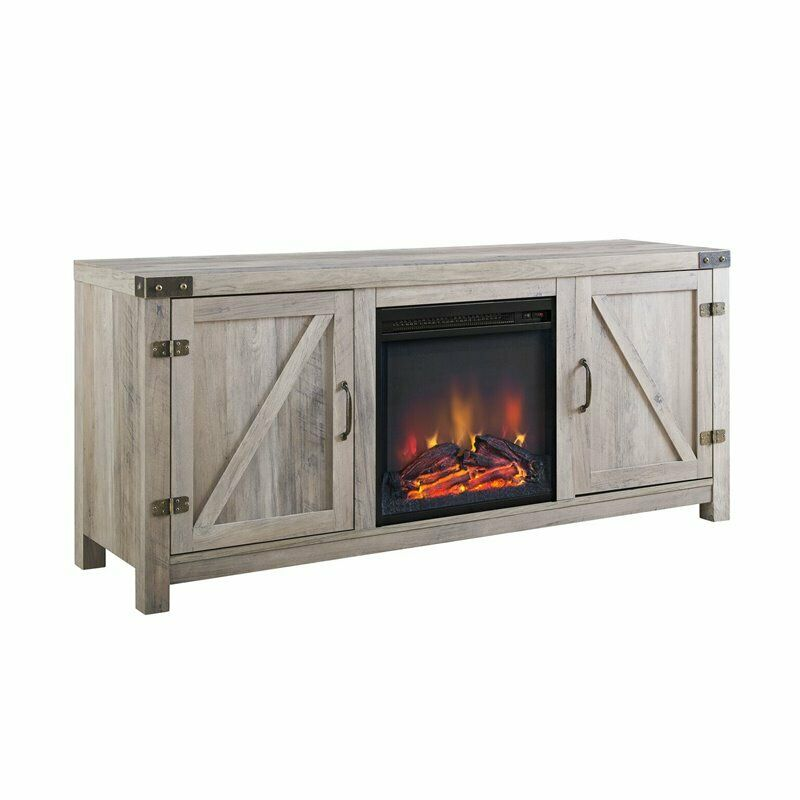 Pemberly Row 58 Wood TV Stand with Fireplace in Black