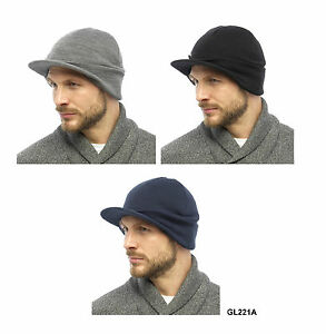 18a515e165 Details about New Tom Franks Mens Black Knitted Acrylic Beanie Hat with  Peak Navy/ Grey GL221
