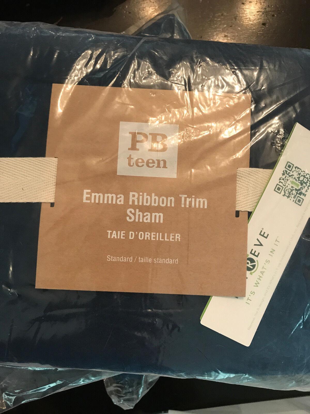 POTTERY BARN Teen Set de 2 Emma Trim Standard Shams Bleu marine NEUF