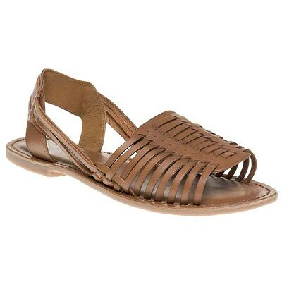 New Womens SOLE Tan Erica Leather Sandals Gladiators Slip On