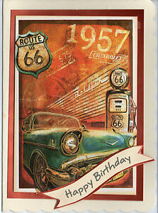ROUTE 66 THEMED  HANDMADE OPEN  BIRTHDAY  CARD - <span itemprop='availableAtOrFrom'>SWANSEA, Swansea, United Kingdom</span> - ROUTE 66 THEMED  HANDMADE OPEN  BIRTHDAY  CARD - SWANSEA, Swansea, United Kingdom