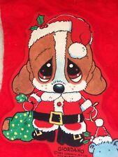 VINTAGE FELT EMBOSSED CHRISTMAS STOCKING PUPPY DOG SAD SAM GIORDANO