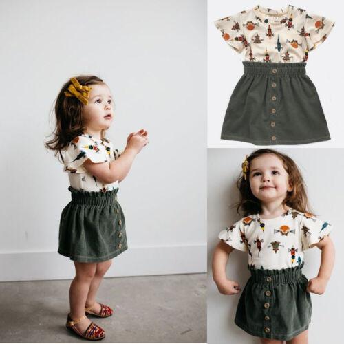 Toddler Kids Baby Girls Summer Cotton T-shirt+Short Skirts Outfits Kids Clothes
