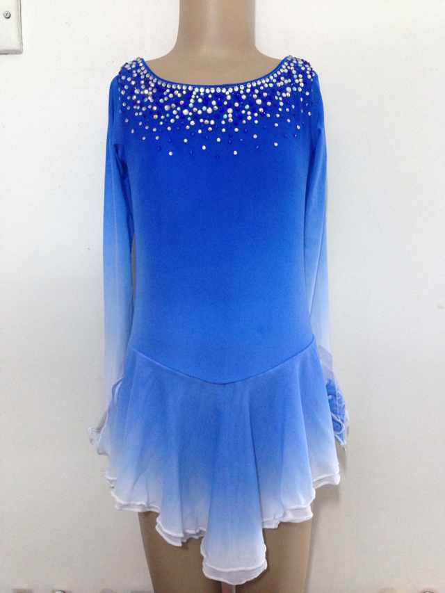 bluee skating dress competition hot sale cheap women ice skating dress
