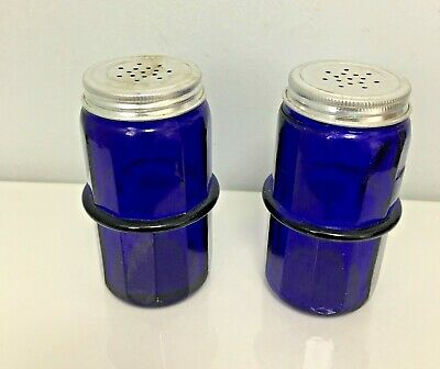 Jars Other Antique Home & Hearth Antique Lot Of 2 Cobalt Blue Allspice Jars With Original Lid For Hoosier Cabinet