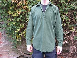 Image is loading Swedish-Army-Grandad-Shirt-Olive-Green-Long-Sleeve- dd629991e6
