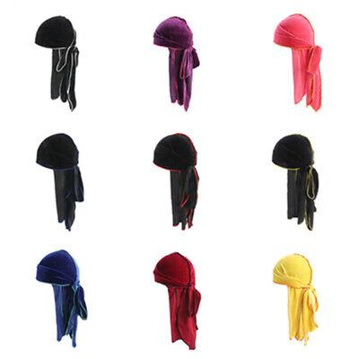Unisex Men Women Velvet Double Colored Bandana Hat Turban Cap Doo Durag Headwear