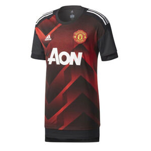 adidas-Men-039-s-Manchester-United-17-18-Home-Pre-Game-Jersey-Real-Red-Black-BS2608