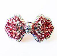 USA BARRETTE Rhinestone Crystal Hair Clip Hairpin Wedding Bridal Bowknot Pink 58