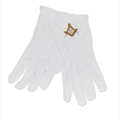 One Size White Cotton Gloves with Embroidered Gold Masonic Design XLFG011