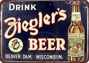 Drink-Ziegler-039-s-Beer-Vintage-Rustic-Retro-Metal-Sign-8-034-x-12-034