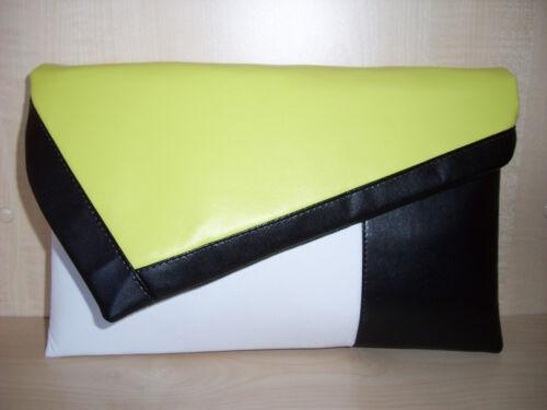 Bloque de color de tamaño más Limón Forrado Blanco y Negro Imitación Cuero Bolso sin asas Bolso