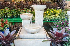 Large-Outdoor-Patio-Garden-Water-Feature-Trio-Cascading-Cup-Fountain-Sandstone