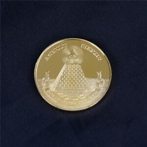 Masonic-Freemasonry-Freemason-All-seeing-Eye-Pyramid-Gold-Coins-Collection-GiftK