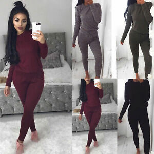 Womens-Ladies-Plain-Sweatshirt-Joggers-Lounge-Wear-Tracksuit-Jogsuit-New-UK