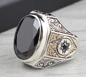 Turkish 925 Sterling Silver Fresh black onyx stone mens man ring ALL SİZE us
