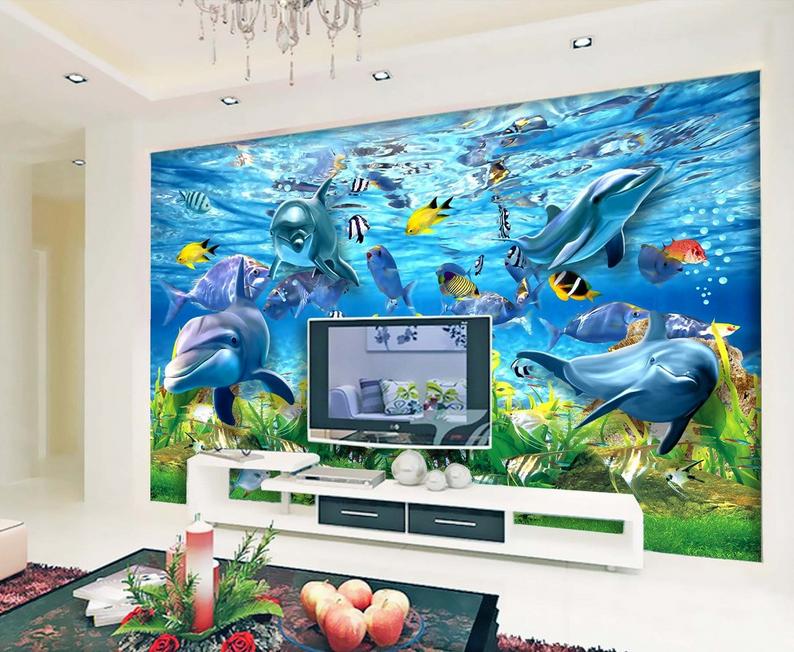3D Delphin Fisch 907 Tapete Wandgemälde Tapete Tapeten Bild Familie DE Summer