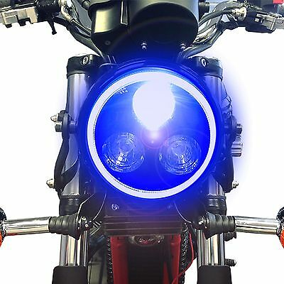 Black Metal Motorbike LED Headlight With Blue Halo Ring For Triumph Bonneville