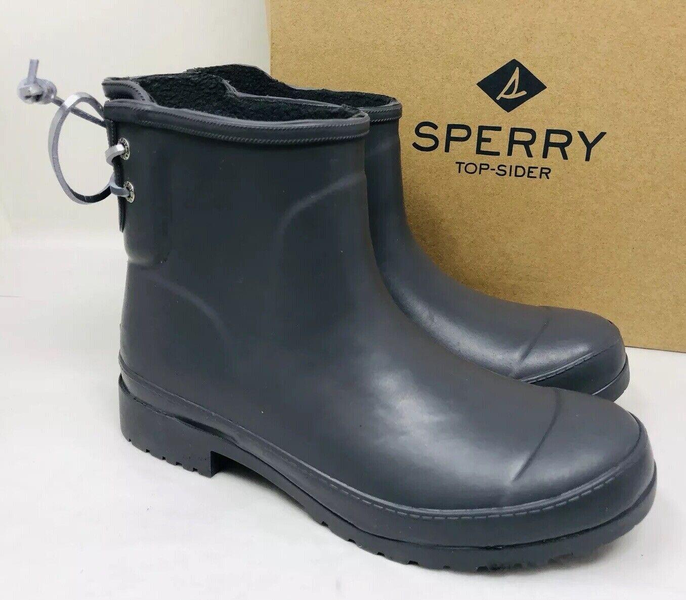 Sperry Women's Walker Turf Rain Booties Dark Grey Size 6M