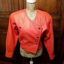 Laurel Escada Vintage Leather Jacket Cropped Orange Coral Bomber NO SIZE TAG