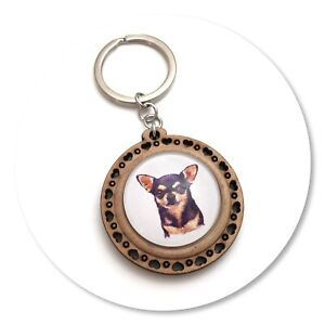 Chihuahua Dog short haired  Wooden  keyring key ring black & tan Chi