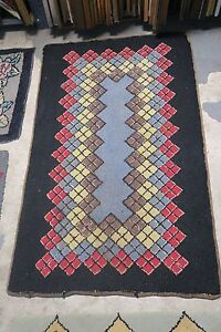Rugs & Carpets Lovely Primitive Antique American Hand Hooked Rug Wool On Burlap 2'6 X 4' Argyle