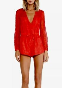 06770af34c59  178 StyleStalker Womens XS 0 Red Lace Long Sleeve Short Shorts ...