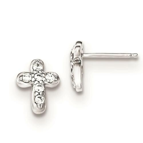 Sterling Silver Polished CZ Cross Children/'s Post Childs Earrings 8mm x 10mm