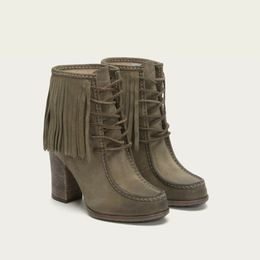 Frye Parker Grey Distressed Suede Fringed Ankle Stivali Booties 9.5 M New