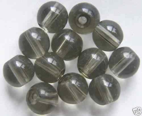 50 perles de verre boules 8 mm comprimé pelliculé brun-gris Q15-09