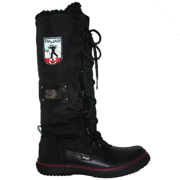 Pajar Grip Zip - Waterproof Black Leather Nylon Tall Pile-Lined Winter Boot