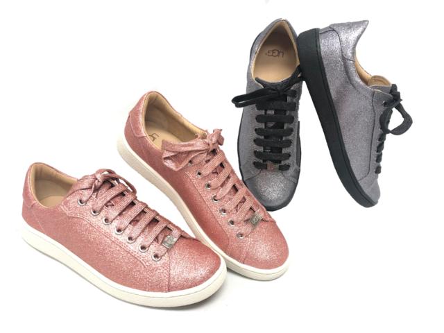 af5f064a011 Ugg Australia Milo Glitter Pink Gunmetal Lace Up Sneakers Tennis Shoes  1100213