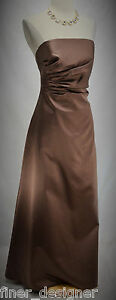 ABS-dress-Cocoa-Satin-Prom-Strapless-pleated-Formal-Gown-evening-SZ-4-shawl-NEW