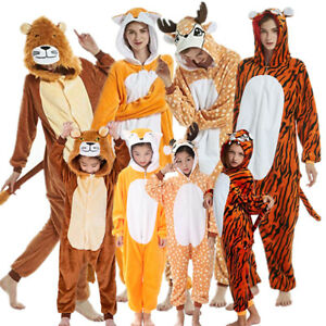 Adult Tiger Lion Deer Fox Animal Costume Pajamas One Piece For