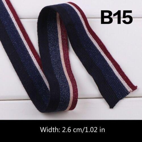 Tela de algodón a rayas 2M Cinta de Tela de piezas laterales ropa Trimmings Apparel Decor