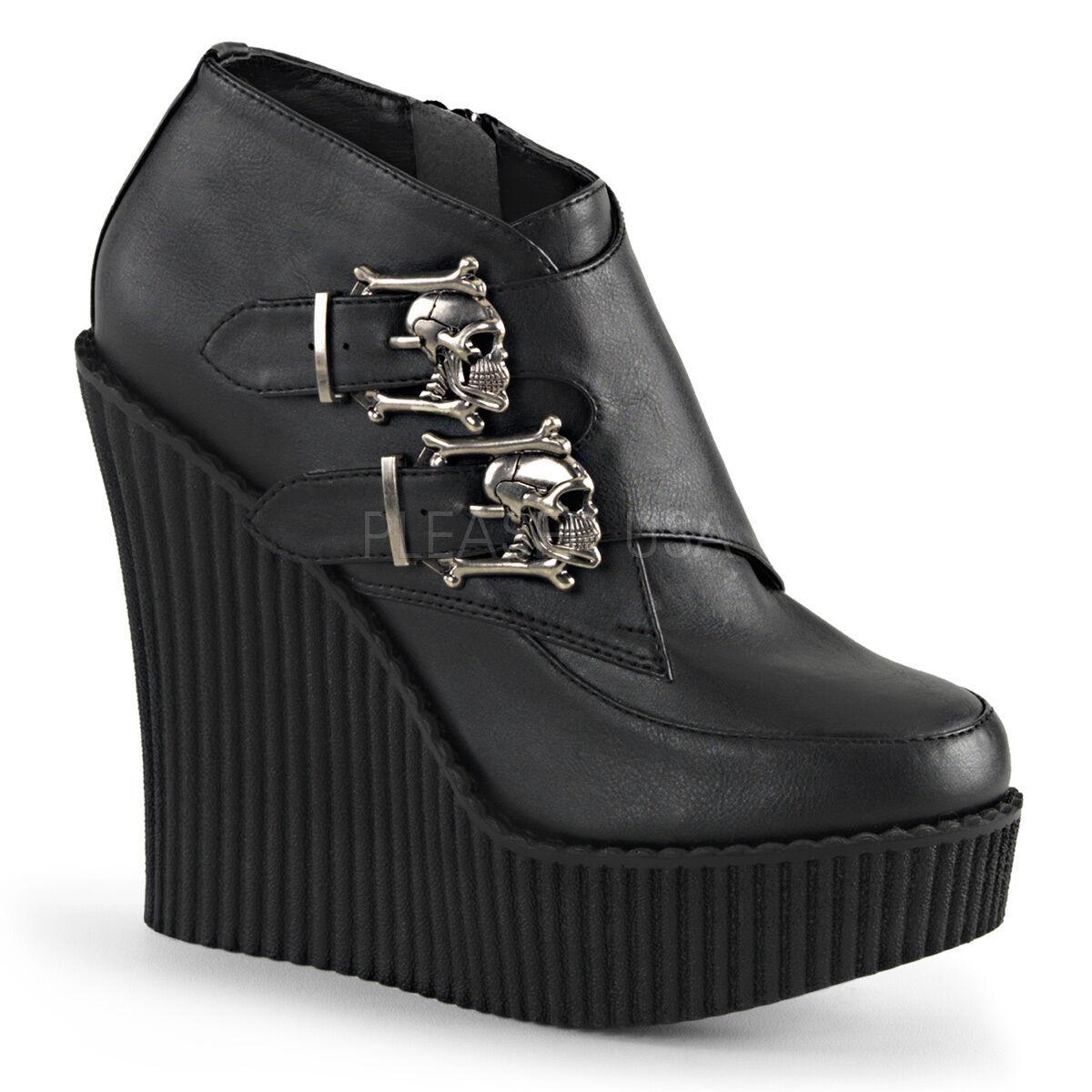 Demonia Creeper 306 Ladies Black Wedge Platform Vegan Leather Buckle Skull Shoes