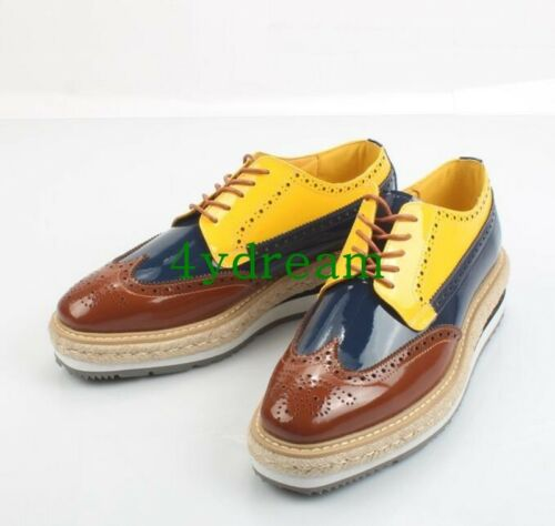 Mens Boys Wing Tip Platform Wedge Heel Punk Brogue Lace Up Splice Pumps Shoes