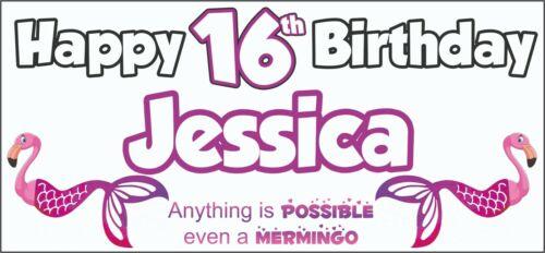 Personalised Mermingo Flamingo Mermaid 16th Birthday Banner x2 Party Decorations