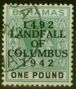 Bahamas 1942 £1 Dp Grey-Green & Black (thick paper) SG175 V.F.U Madam Joseph ...