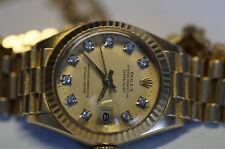Rolex Datejust 6917 Gelbgold Diamantziffern Damenuhr mit Sicherungskette