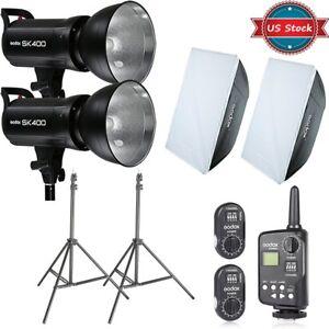 Godox-SK400-800Ws-Studio-Flash-Lighting-Softbox-Light-Stands-FT-16-Trigger-Kit