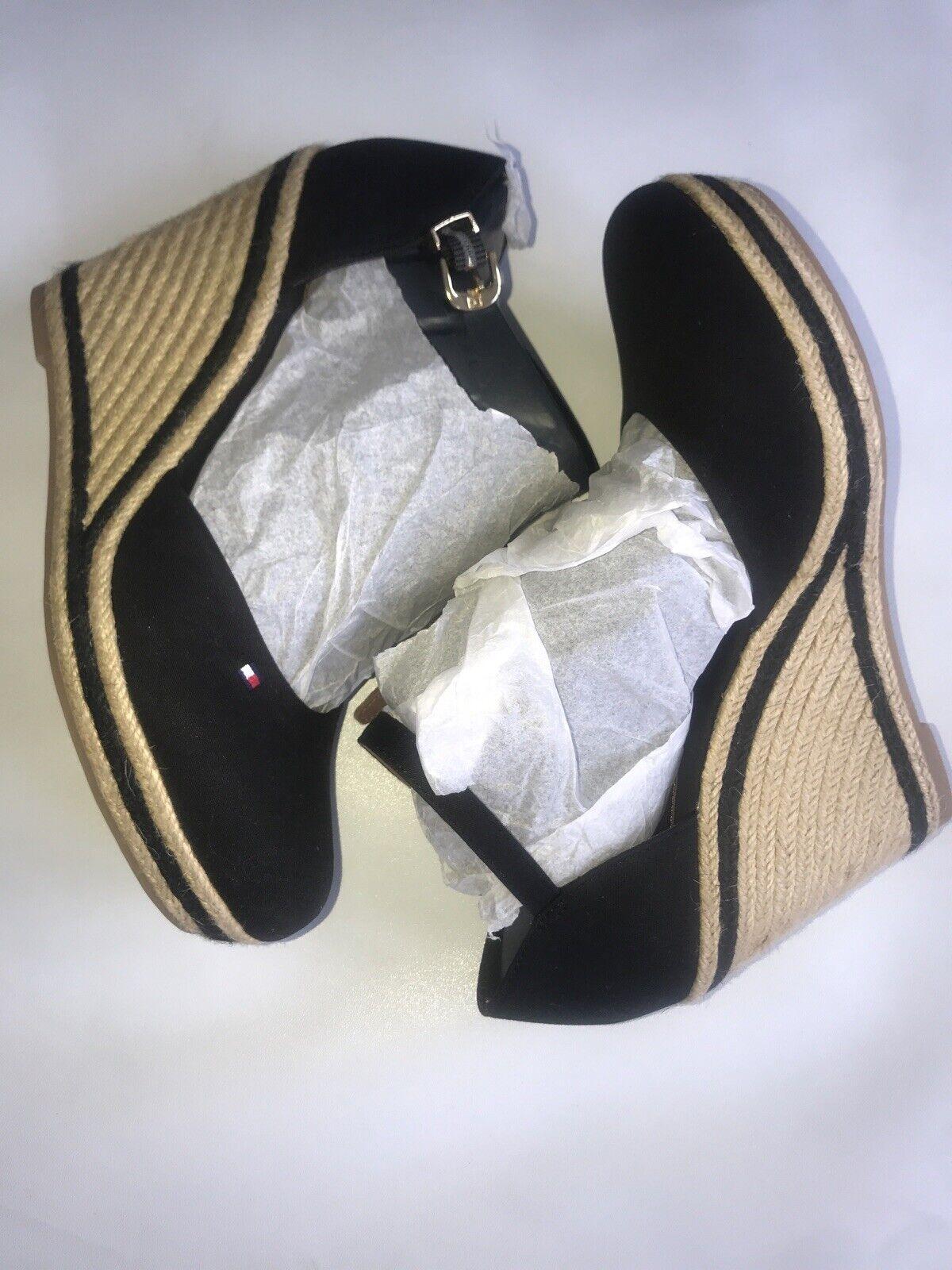tommy Hilfiger Wedge Heel shoes womens Size EU 40 U.K. 6.5 Black Cotton New