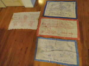 Vtg-Shabby-Embroidered-Pillow-top-Cover-Lot-Turkey-Red-Blue-Lg-30x21-034-amp-up-A94a