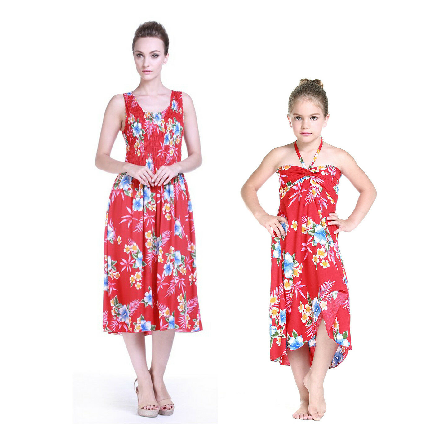 Mother and Daughter matching Hawaiian Dress Cruise Beach Short in Hibisucs Red