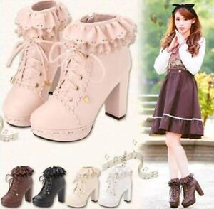 Retro-Womens-Lace-Up-Platform-High-Block-New-Cosplay-Lolita-Ankle-Boots-Shoes