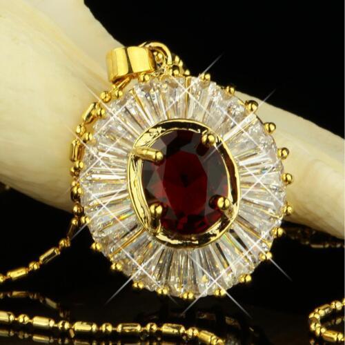 Set Kette Anhänger Ohrringe Zirkonia rot 750er Gold 18 Karat vergoldet S1953