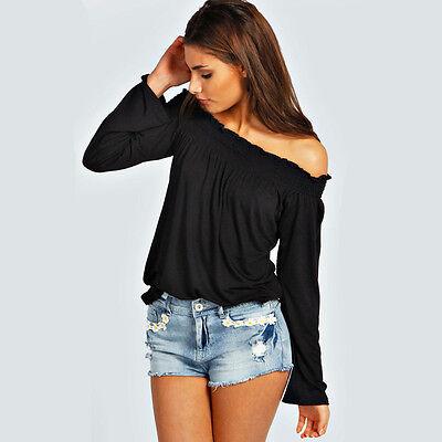 Fashion Sexy Women Cotton Blouse Off Shoulder Long Sleeve Casual Shirt Tops