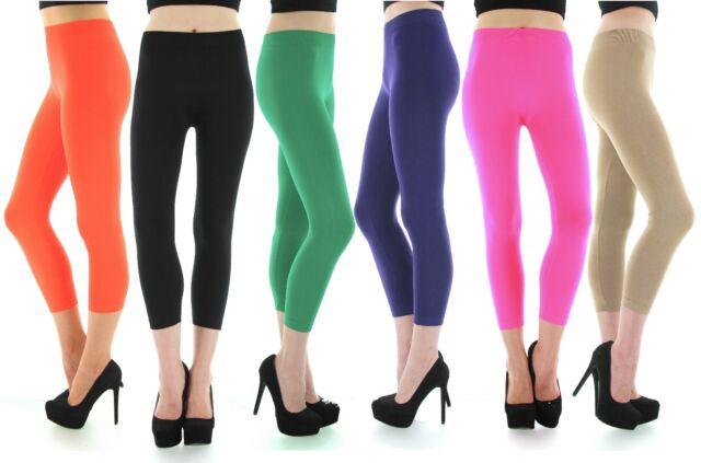 New Women's Junior Size Seamless 3/4 Capri Leggings Thin, Regular, Plus Sizes