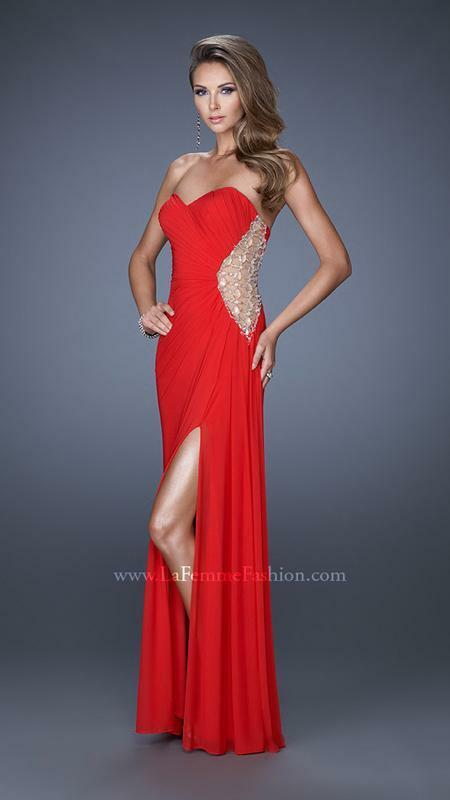 438 NWT RED LA FEMME PROM PAGEANT FORMAL DRESS GOWN SIZE 2